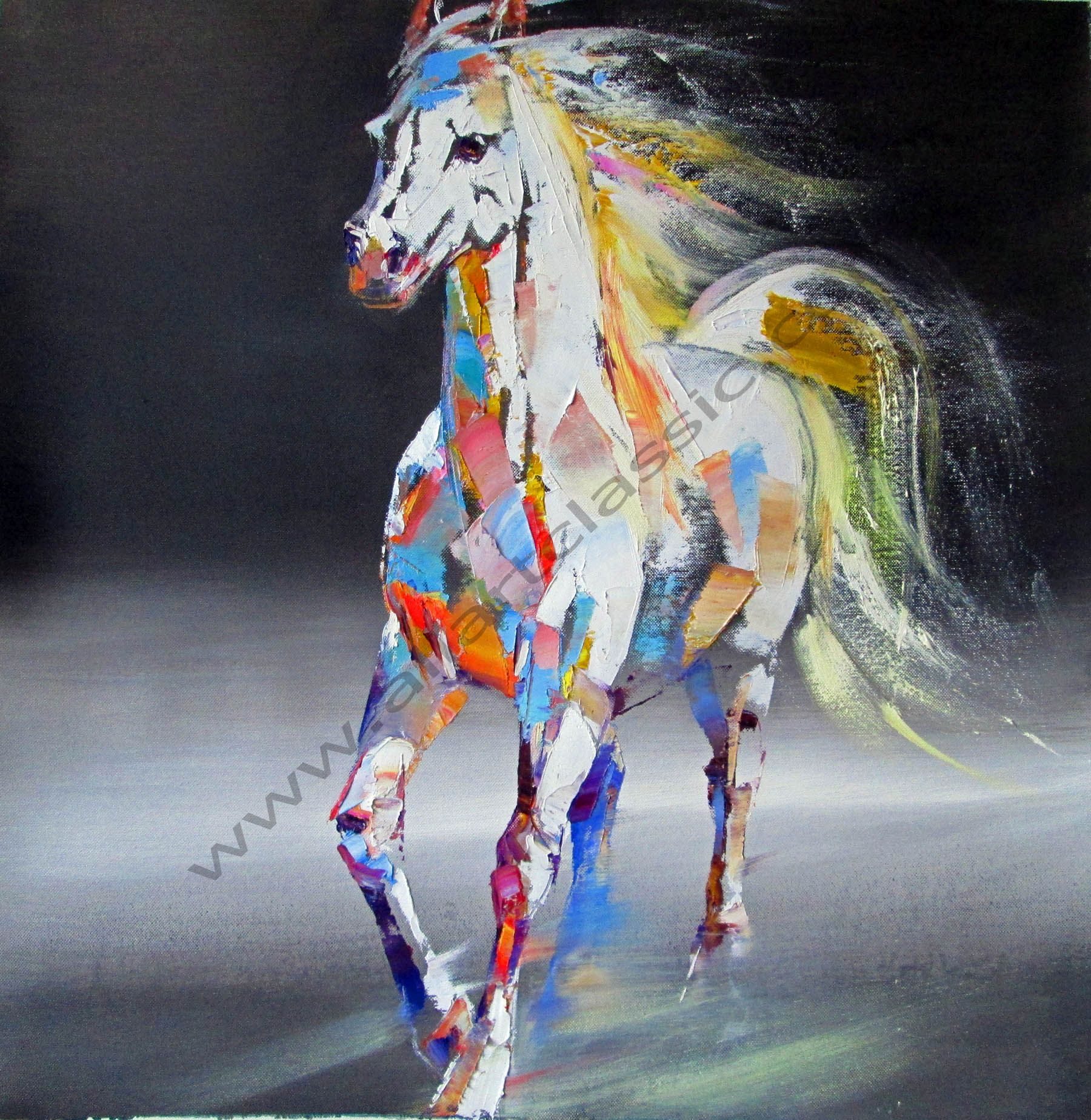 Original Oil Painting - The White Horse abstract art