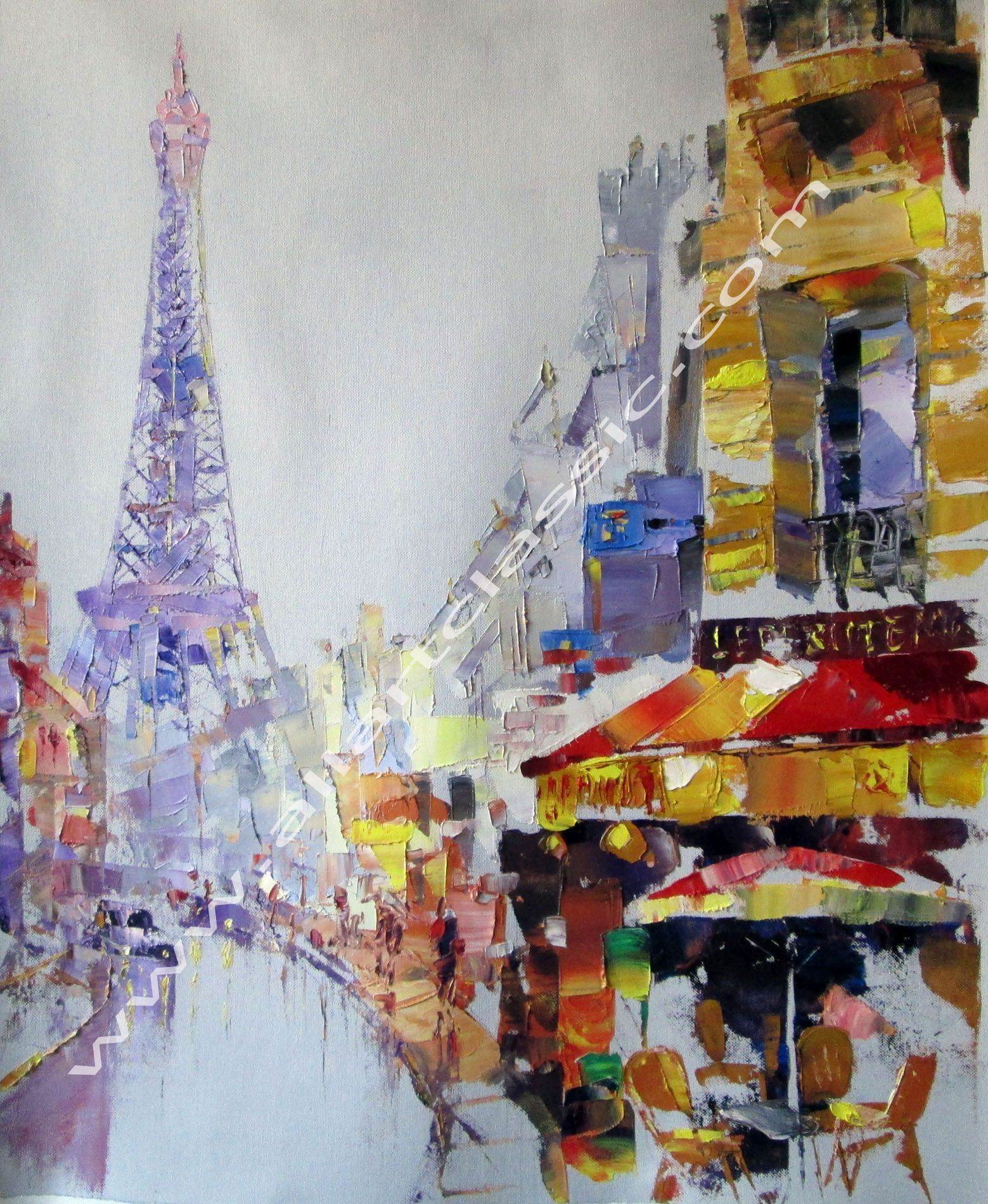 Original Painting - Paris, Eiffel Tower, Palette Knife Painting