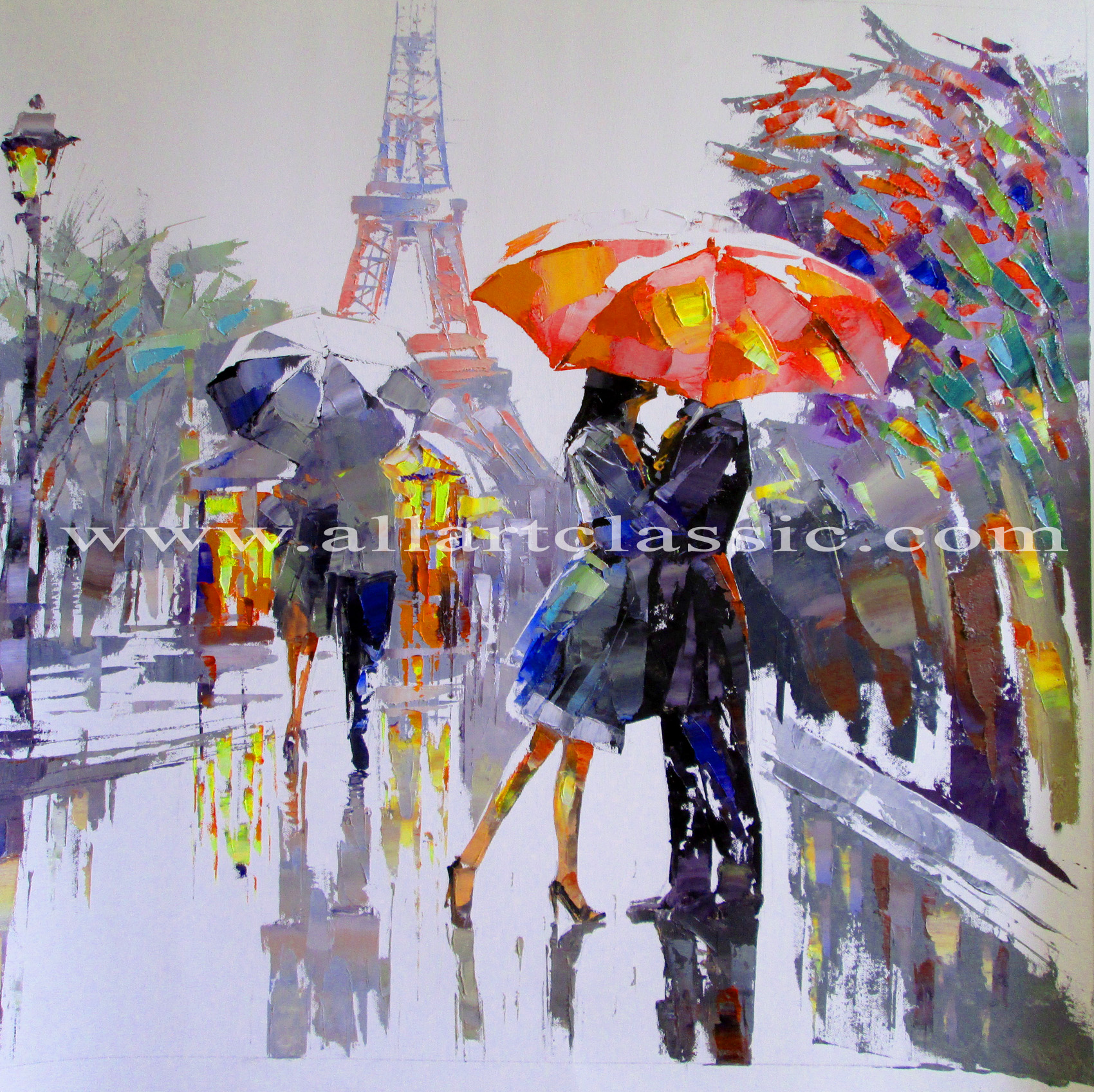 Original Art Painting - Rainy Day in Paris, Modern Art