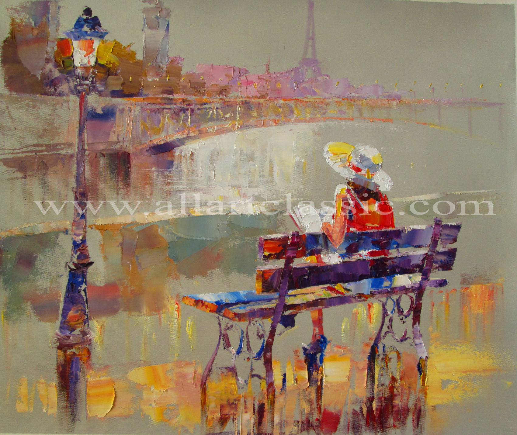 Original Painting- Rest by the River Seine