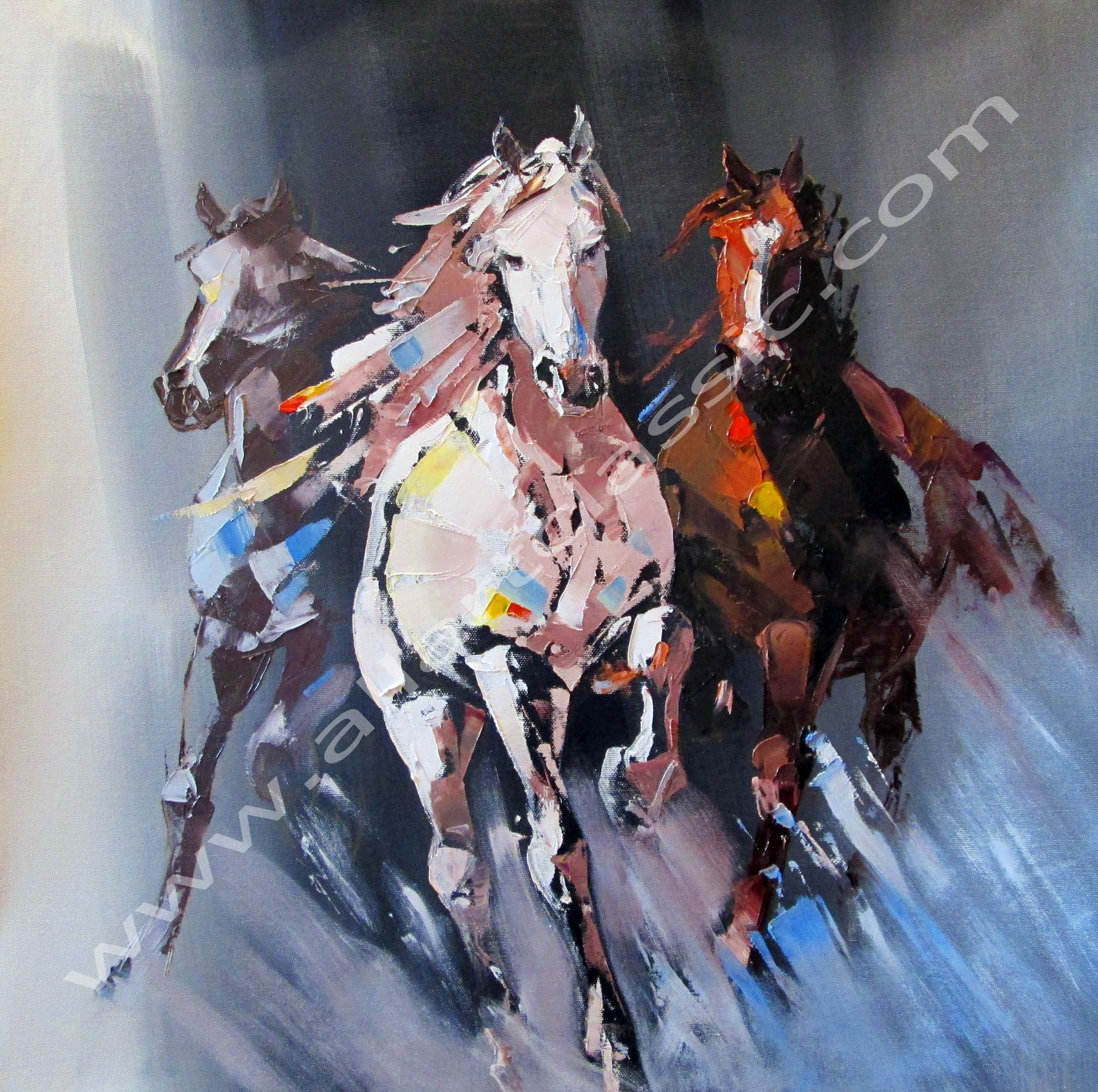 Cheap Paintings for Sale - Running Horses, abstract art