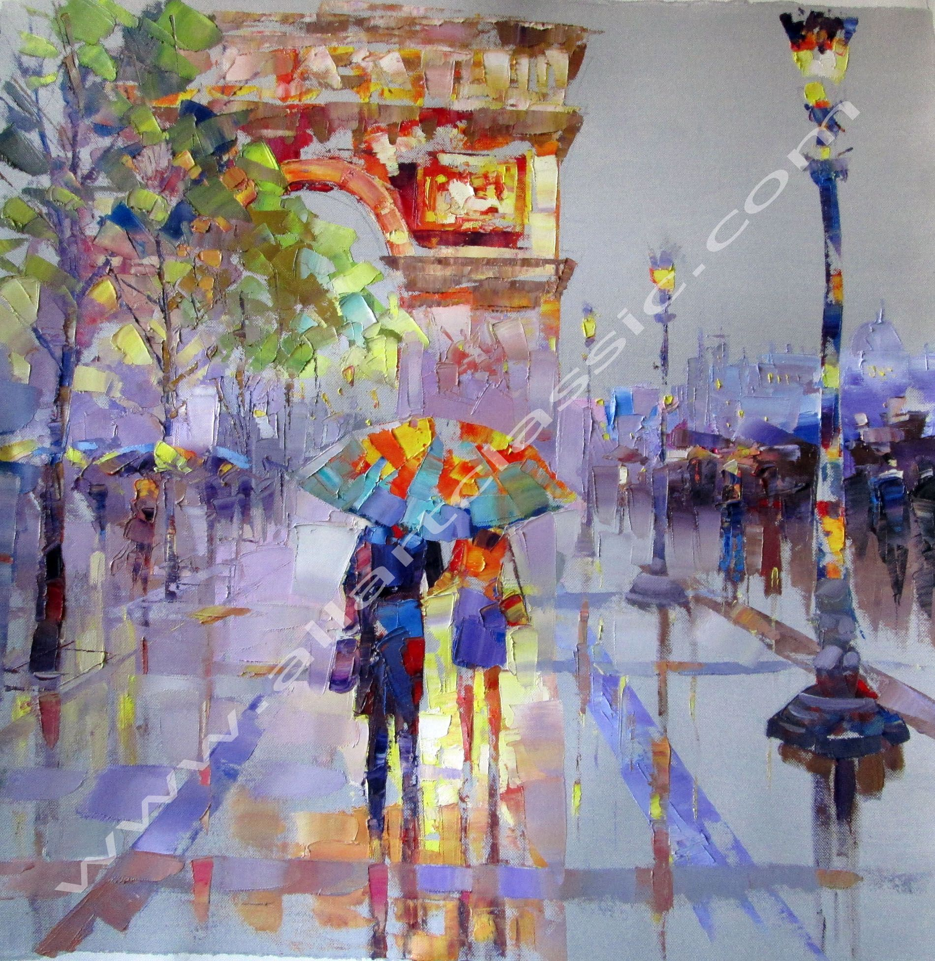 Original Art - Walking on Champs Elysees, palette knife painting