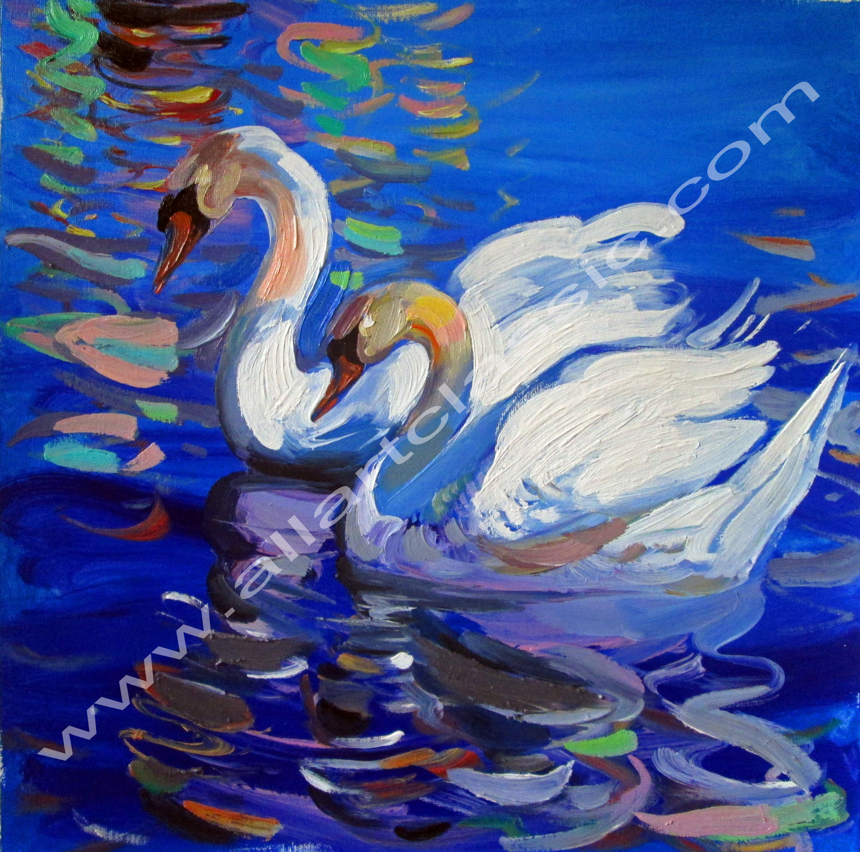 Original Painting- White Swans in Water