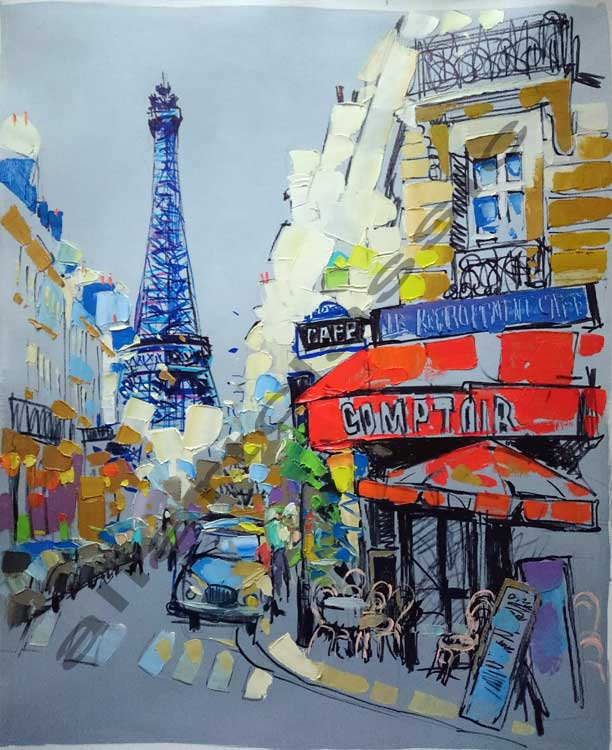 Original Oil Painting - Modern Eiffel