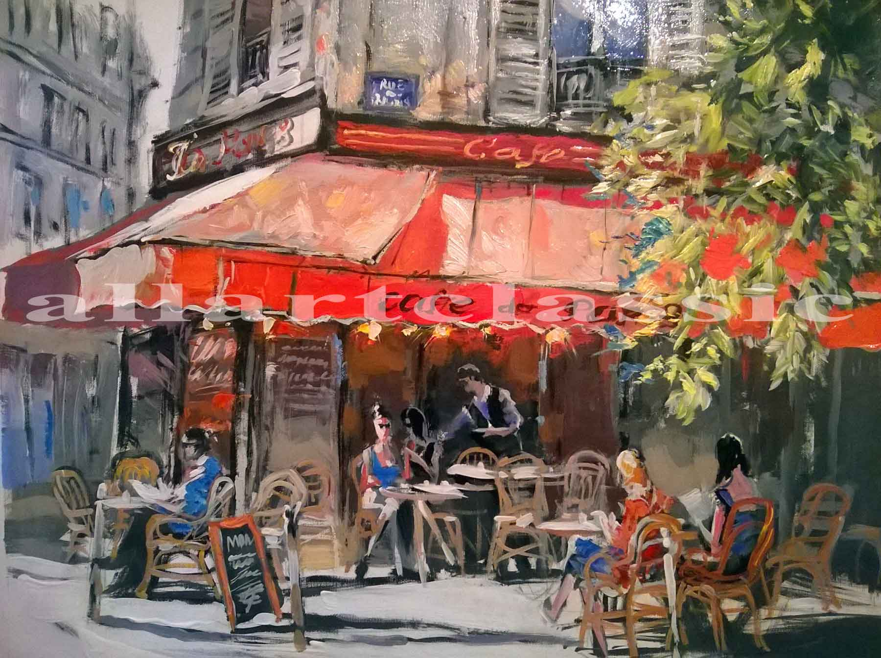 Original Contemporary Art - Paris Corner Cafe