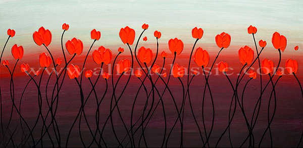 Original abstract art red flowers