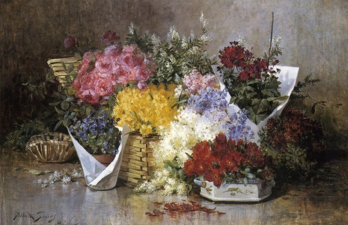 Paintings Reproductions Graves, Abbott Fuller Floral Still Life, 1858