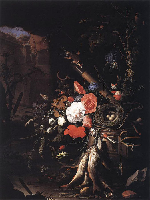 Abraham Mignon Reproductions-Still-Life with Fishes and Bird Nest, 1670