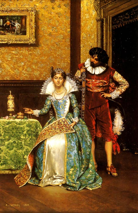 Paintings Reproductions Lesrel, Adolphe Alexandre The Attentive Courtier, 1880