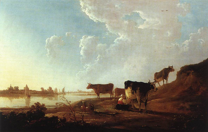 Paintings Reproductions Cuyp, Aelbert River Scene with Milking Woman, 1646