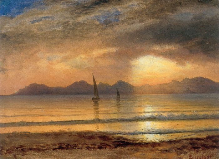 Albert Bierstadt Reproductions-Sunset Over A Mountain Lake