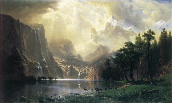 Albert Bierstadt Reproductions-Among the Siera Navada Mountains, California , 1868