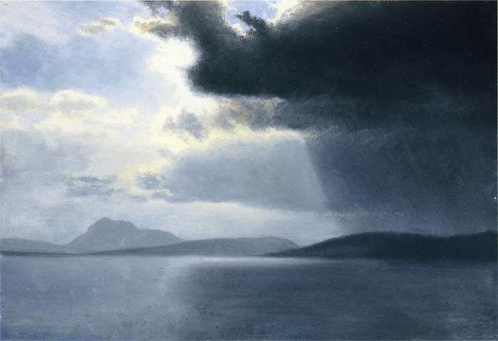 Albert Bierstadt Reproductions-Approaching Thunderstorm on the Hudson River