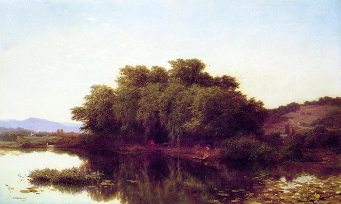 Paintings Reproductions Bellows, Albert Fitch A River Bank, 1861