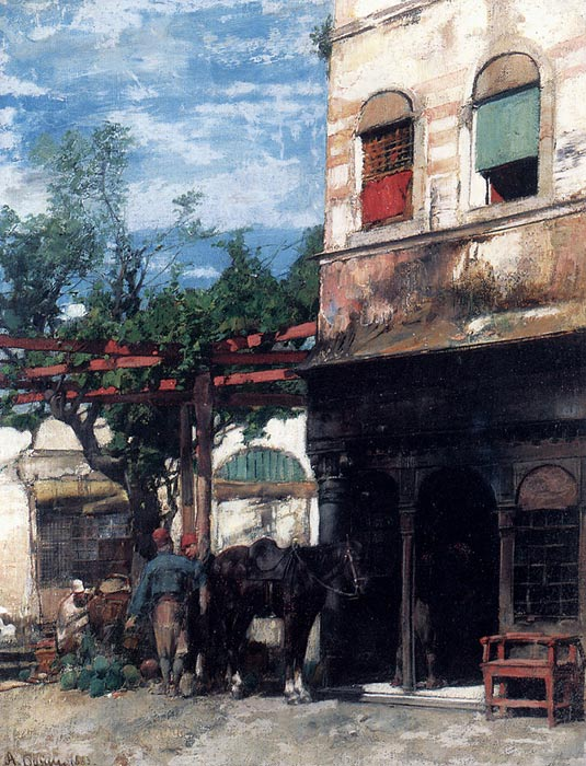 Alberto Pasini Reproductions-In The Courtyard, 1883