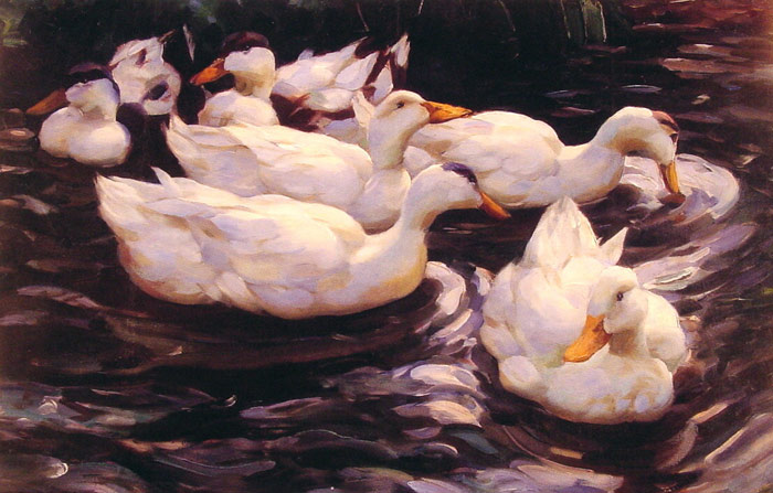 Alexander Koester Reproductions-Six Ducks in the Pond