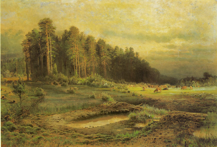 Paintings Reproductions Savrasov, Alexey Kondratyevich A Forest Island in Sokolnik, 1869