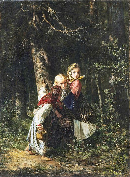 Aleksei Ivanovich Korzukhin Reproductions-Peasant Girls in the Forest