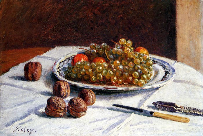 Alfred Sisley Reproductions-Grapes And Walnuts On A Table, 1876