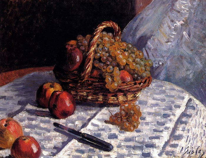 Paintings Reproductions Sisley, Alfred Still Life: Apples And Grapes, 1876