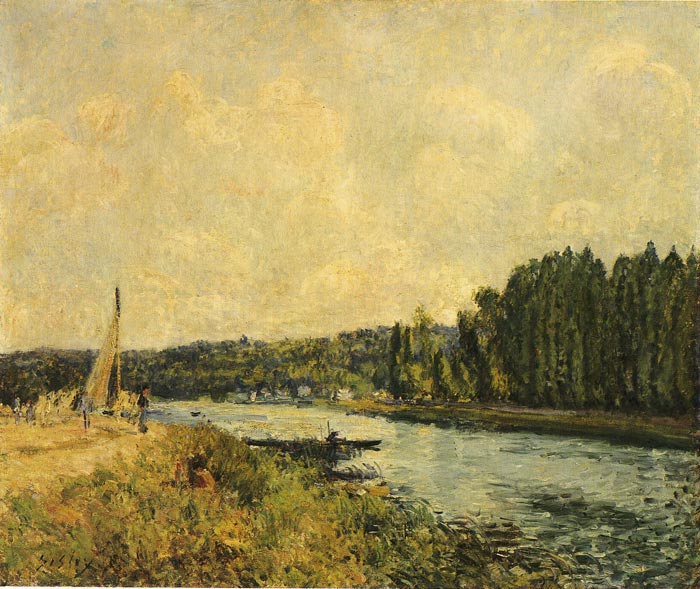 Alfred Sisley Reproductions-River Banks, 1878