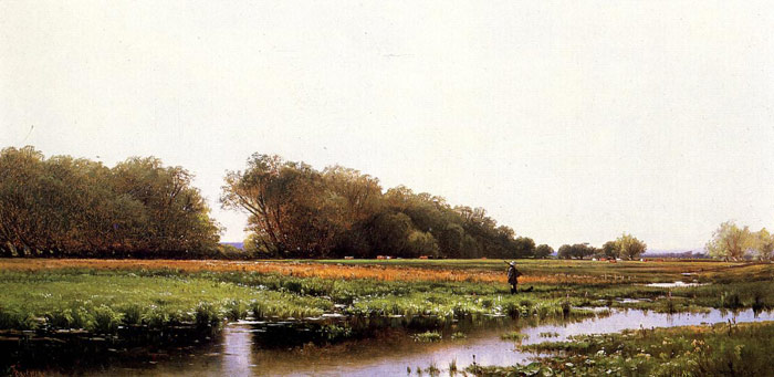 Alfred Thompson Bricher Reproductions-Hunter in the Meadows of Old Newburyport, Massachusetts, c.1873