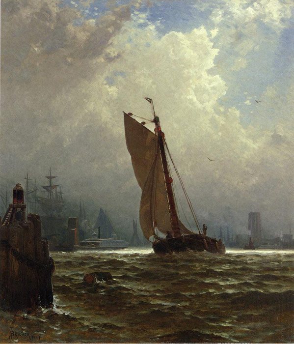 Alfred Thompson Bricher Reproductions-New York Harbor with the Brooklyn Bridge Under Construction, 1877