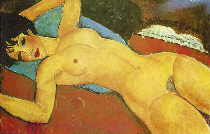 Amedeo Modigliani Reproductions-Sleeping Nude with Arms Open( Red Nude ), 1917