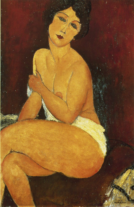 Amedeo Modigliani Reproductions-Seated Nude on Divan, 1917