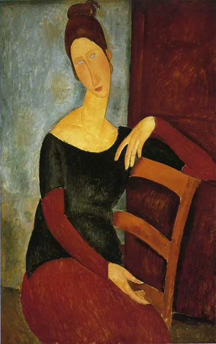 Amedeo Modigliani Reproductions-Jeanne Hebuterne- The Artist's Wife, 1918