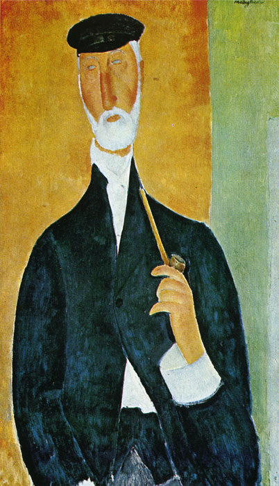 Paintings Reproductions Modigliani, Amedeo Man with Pipe, 1918