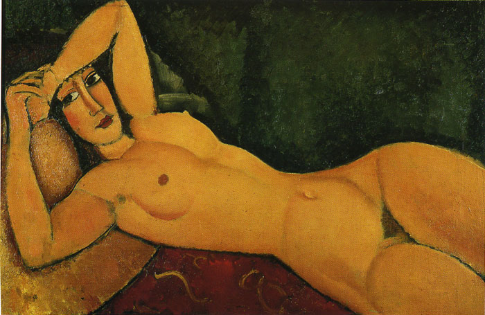 Amedeo Modigliani Reproductions-Reclining Nude with Left Arm Resting on Her Forehead, 1917