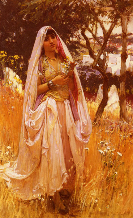 La Jeune Mauresque, Campagne D'Algiers [Moorish Girl, Algiers Countryside], 1880 Bridgeman, Arthur Frederick Painting Reproductions