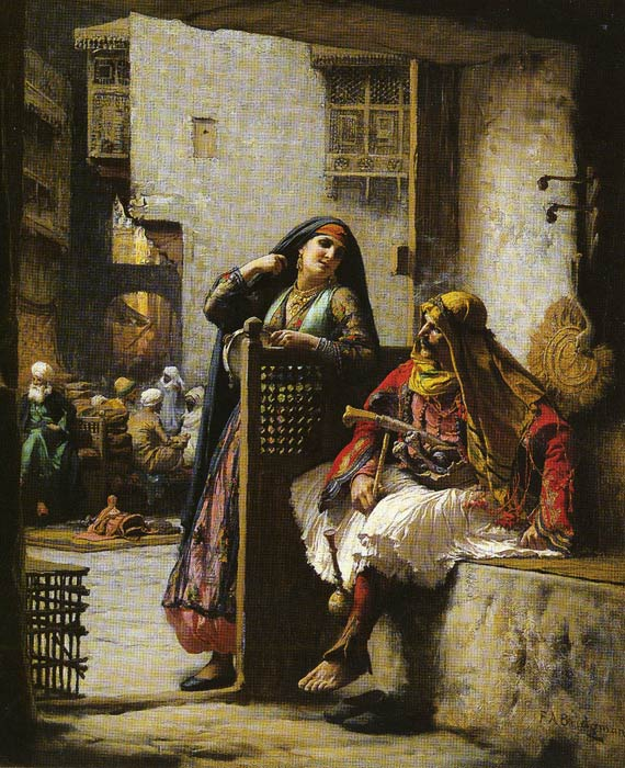 Arthur Frederick Bridgeman Reproductions-Almeh Flirting with an Armenian Policeman, Cairo