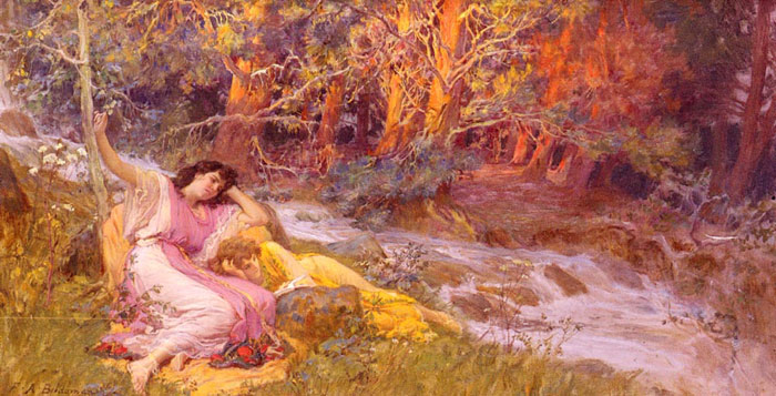 Reclining By A Stream Bridgeman, Arthur Frederick Painting Reproductions