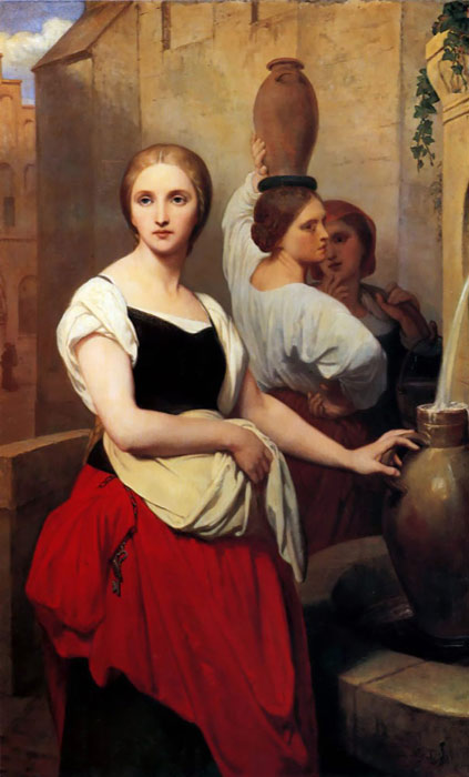 Paintings Reproductions Scheffer, Ary Margaret at the Fountain, 1852