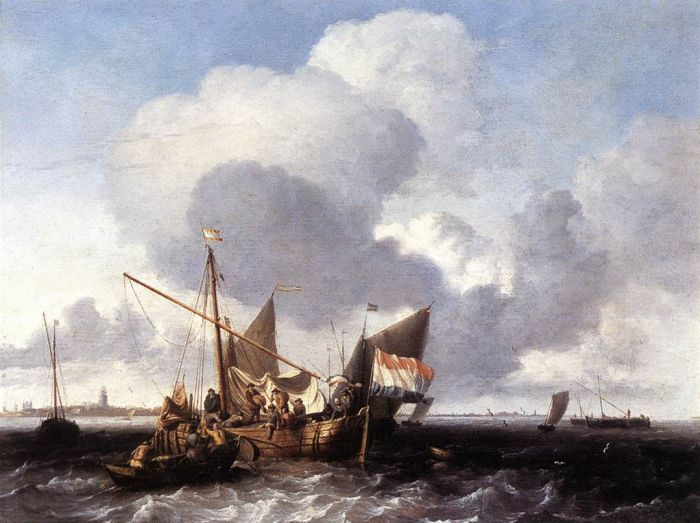 Paintings Reproductions Backhuysen, Ludolf Ships on the Zuiderzee before the Fort of Naarden, 1680