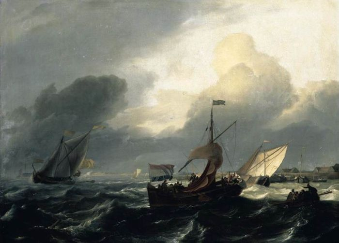 Paintings Reproductions Backhuysen, Ludolf Small Dutch Vessels
