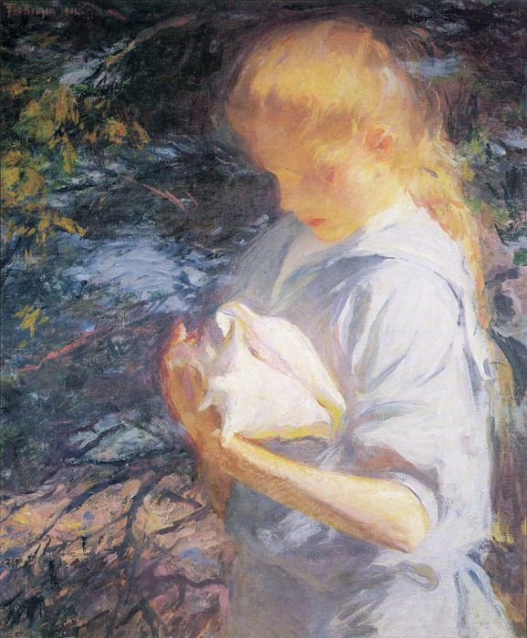 Frank Weston Benson Reproductions-Eleanor Holding a Shell