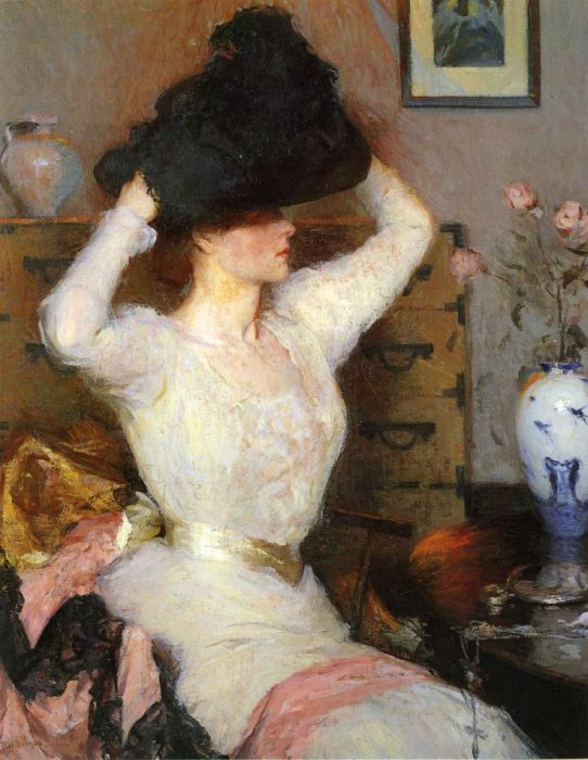 Frank Weston Benson Reproductions-The Black Hat, 1904