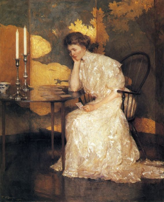 Frank Weston Benson Reproductions-Girl Playing Solitaire, 1909