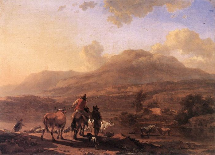 Paintings Reproductions Berchem, Nicolaes Italian Landscape at Sunset, 1671