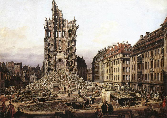 Bernardo Bellotto Reproductions-The Ruins of the Old Kreuzkirche in Dresden, 1765