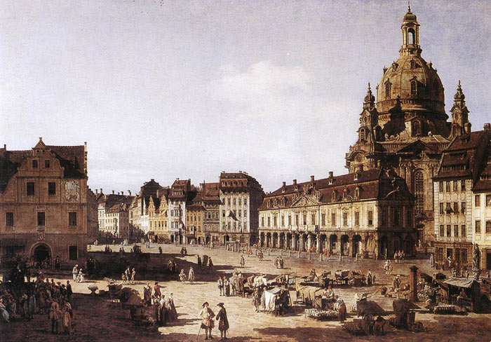 Bernardo Bellotto Reproductions-New Market Square in Dresden, 1750