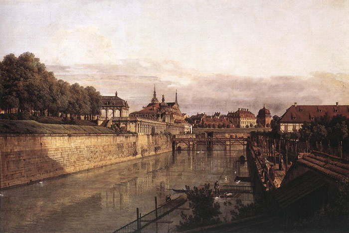 Bernardo Bellotto Reproductions-Zwinger Waterway, 1750
