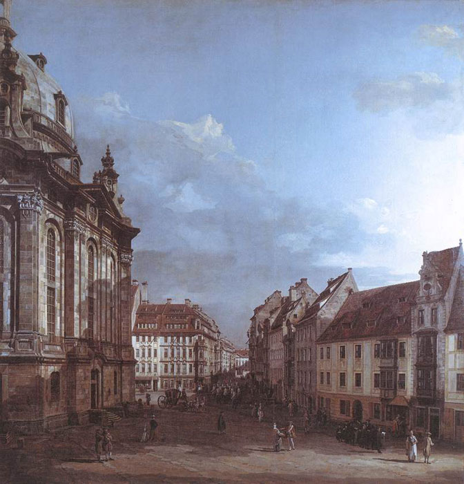 Bernardo Bellotto Reproductions-Dresden, the Frauenkirche and the Rampische Gasse, 1749-1753
