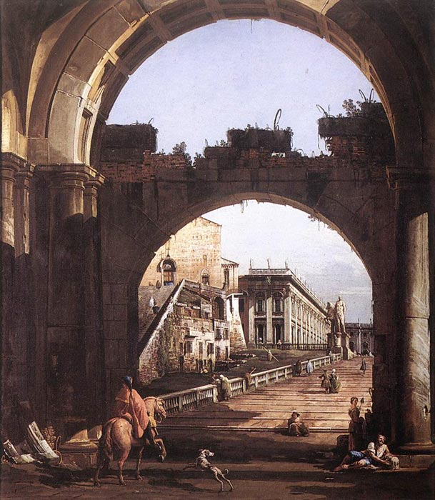 Bernardo Bellotto Reproductions-Capriccio of the Capitol, 1743-1744