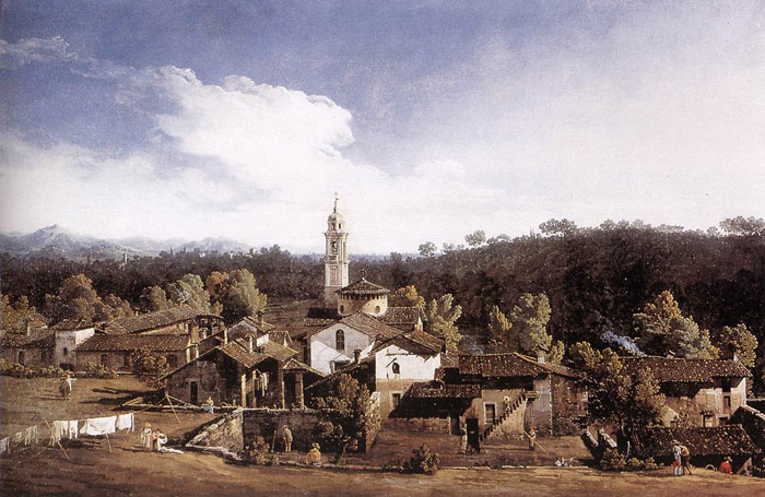 Bernardo Bellotto Reproductions-View of Gazzada near Varese, 1744