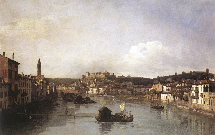 Bernardo Bellotto Reproductions-View of Verona and the River Adige from the Ponte Nuovo, 1747-1748