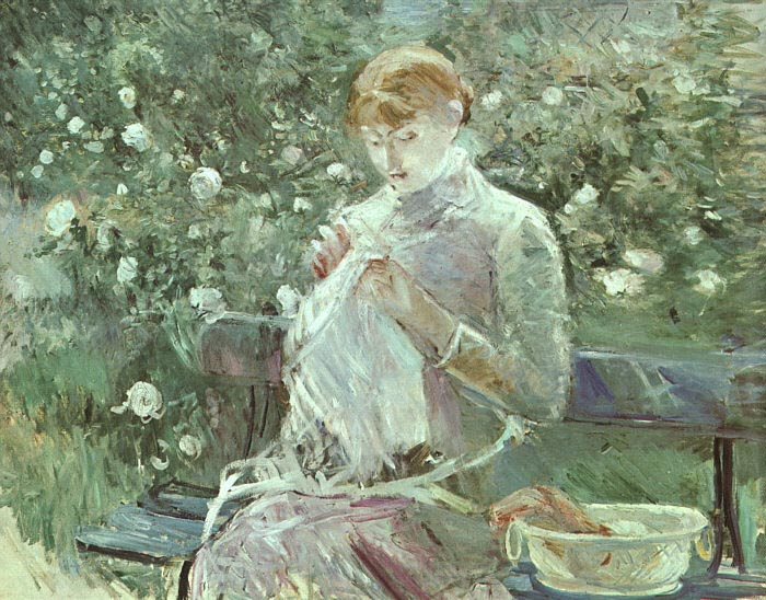 Berthe Morisot Reproductions-Young Woman Sewing in a Garden